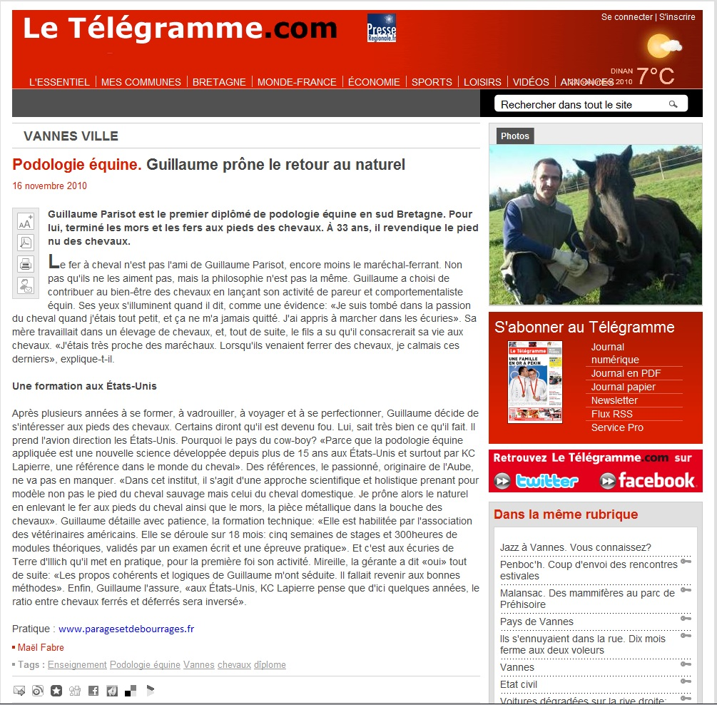 article télégramme internet